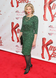 Christine Baranski chose this emerald green dress with geometric designs for her red carpet look at the opening of 'Kinky Boots.'