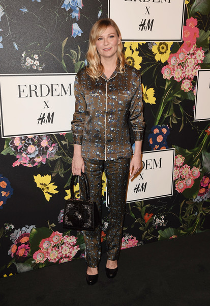 Kirsten Dunst Print Blouse [erdem runway show,fashion,yellow,fashion design,pink,carpet,footwear,premiere,red carpet,outerwear,jacket,arrivals,kirsten dunst,los angeles,the ebell club,california,h m,party,erdem runway show party]