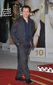 Stefano Accorsi looked red carpet ready in a slate gray suit.