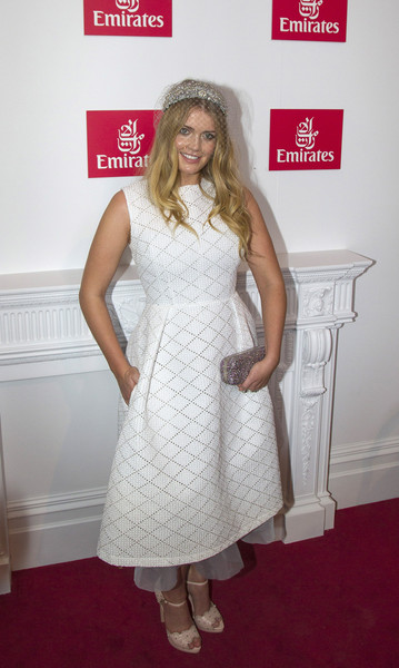 Kitty Spencer Metallic Clutch [clothing,white,dress,carpet,red carpet,cocktail dress,hairstyle,flooring,fashion,blond,celebrities,kitty spencer,melbourne,australia,flemington racecourse,emirates marquee,melbourne cup day]