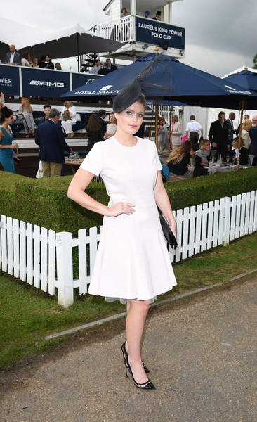 Kitty Spencer Cocktail Dress [white,photograph,clothing,dress,shoulder,fashion,snapshot,footwear,street fashion,joint,king power polo cup,laureus king power polo cup,laureus,ham polo club,richmond,england,kitty spencer]