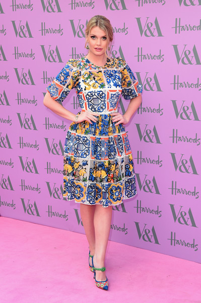 Kitty Spencer Embroidered Dress [clothing,fashion model,dress,fashion,shoulder,joint,footwear,fashion design,fun,day dress,arrivals,kitty spencer,harry,royal family,princess,fashion,v a,summer party,v a summer party,wedding,lady kitty spencer,tatler,wedding of prince harry and meghan markle,serpentine gallery,princess,royal family,celebrity,dolce gabbana,british royal family]