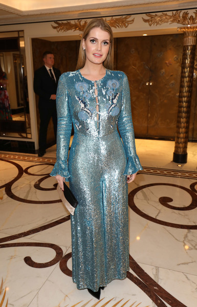 Kitty Spencer Sequin Dress [clothing,dress,fashion,fashion model,haute couture,formal wear,sleeve,neck,gown,electric blue,kitty spencer,harry,diana,world leader,sector,talent,luxury,british,walpole british luxury awards,wedding,lady kitty spencer,wedding of prince harry and meghan markle,wedding of prince william and catherine middleton,spencer family,earl spencer,royal family,charles spencer,diana princess of wales,louis spencer viscount althorp,prince harry duke of sussex]
