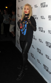 Rita Ora joined the Knott's Scary Farm Black Carpet event looking edgy in a graphic tee and leather leggings.