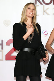 Sarah Brandner wore a business-like yet chic little black peplum dress to the premiere of 'Kokowaeaeh 2.'