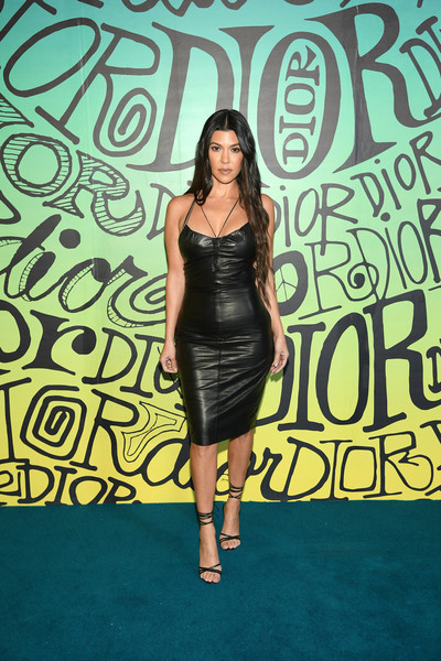 Kourtney Kardashian Leather Dress [clothing,dress,little black dress,fashion,yellow,shoulder,cocktail dress,carpet,fashion design,fashion model,dior men fall 2020 runway show,miami,florida,dior men,kourtney kardashian]