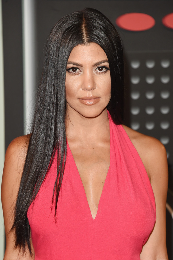 Kourtney Kardashian Opted For A Simple Straight Do With Center Part When She Attended