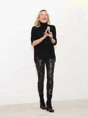 Sharon Stone was rocker-chic in a black turtleneck and leather-panel skinnies at the Gorilla Doctors of Africa benefit.