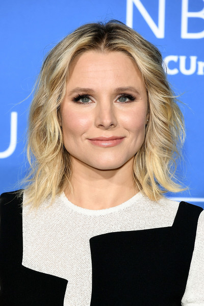Kristen Bell Medium Wavy Cut [hair,blond,beauty,human hair color,hairstyle,fashion model,chin,eyebrow,shoulder,long hair,kristen bell,upfront,radio city music hall,new york city,nbcuniversal]