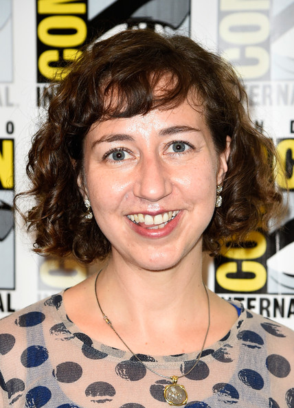 Kristen Schaal Curled Out Bob [hair,face,hairstyle,eyebrow,chin,forehead,smile,lip,brown hair,long hair,kristen schaal,paramount studios press line,san diego convention center,california,press,paramount pictures,comic-con international,comic-con international 2014]
