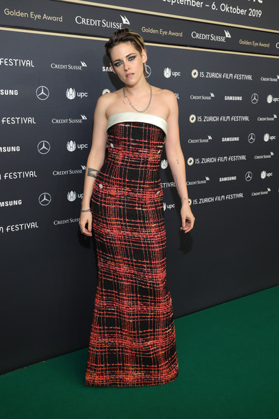 Kristen Stewart Strapless Dress [seberg premiere,clothing,dress,pattern,tartan,strapless dress,fashion,shoulder,carpet,fashion model,design,kristen stewart,zurich,switzerland,kino corso,zurich film festival,premiere]