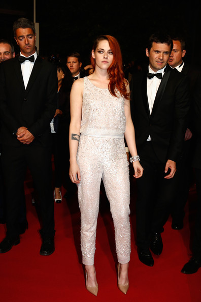 Kristen Stewart Pumps [leviathan premiere,clouds of sils maria,suit,red carpet,clothing,carpet,formal wear,fashion,premiere,tuxedo,event,flooring,kristen stewart,cannes,france,the 67th annual cannes film festival,premiere]
