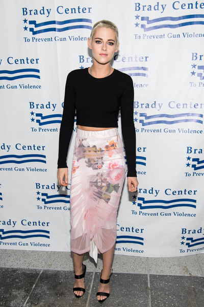 Kristen Stewart Crop Top [clothing,pencil skirt,crop top,fashion,shoulder,street fashion,dress,fashion design,footwear,shirt,kristen stewart,neuehouse hollywood,los angeles,california,brady center bear awards gala,brady centers bear awards gala]