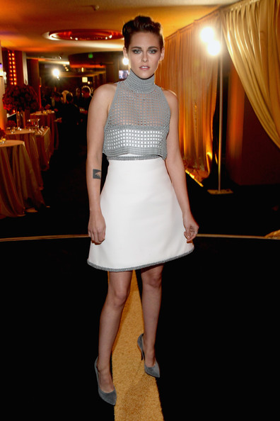 Kristen Stewart Sheer Top [clothing,white,fashion model,dress,fashion,cocktail dress,lady,yellow,shoulder,waist,shailene woodley,casamigos tequila at the hollywood film awards,hollywood,the palladium,california,18th annual hollywood film awards]