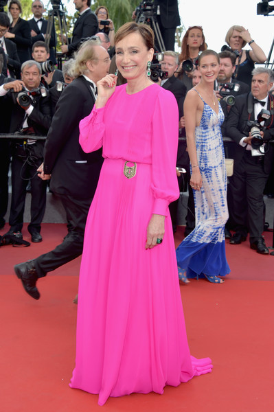 Kristin Scott Thomas Evening Dress [the killing of a sacred deer,red carpet,carpet,dress,premiere,pink,flooring,clothing,event,gown,fashion,red carpet arrivals,kristin scott-thomas,screening,cannes,france,cannes film festival,palais des festivals]