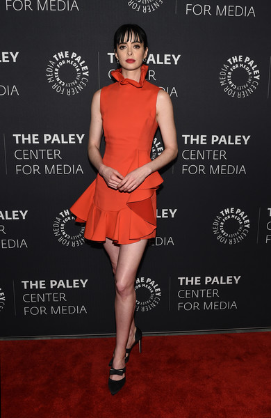 Krysten Ritter Evening Pumps [clothing,dress,cocktail dress,red,red carpet,fashion model,fashion,carpet,premiere,leg,paley center for media presents: an evening with jessica jones,the paley center for media presents: an evening with jessica jones,new york city,the paley center for media,krysten ritter]