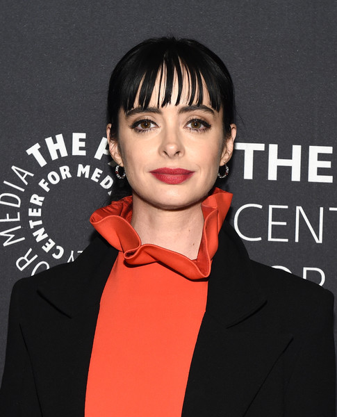 Krysten Ritter Ponytail [hair,face,lip,hairstyle,eyebrow,forehead,cheek,chin,black hair,bangs,paley center for media presents: an evening with jessica jones,the paley center for media presents: an evening with jessica jones,new york city,the paley center for media,krysten ritter]