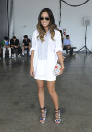Aimee Song teamed a two-tone button-down with a white mini skirt for the Kye fashion show.