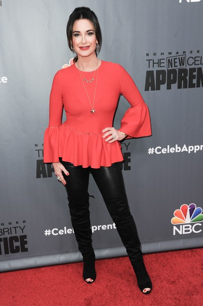 Kyle Richards Over the Knee Boots [the new celebrity apprentice,q a,clothing,red,red carpet,carpet,tights,fashion,orange,footwear,joint,leg,arrivals,kyle richards,richard shotwell,q a,nbc,universal studio,afp,red carpet event]