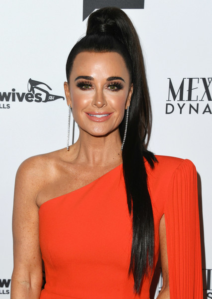 Kyle Richards Ponytail [the real housewives of beverly hills,season,hair,hairstyle,clothing,eyebrow,shoulder,orange,beauty,lip,long hair,black hair,arrivals,kyle richards,gracias madre,west hollywood,california,premiere party,bravo,mexican dynasties]