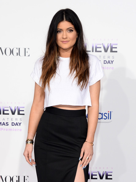 Kylie Jenner Pastel Nail Polish [justin biebers believe,clothing,shoulder,dress,crop top,hairstyle,waist,fashion,long hair,cobalt blue,electric blue,arrivals,kylie jenner,regal cinemas l.a. live,california,los angeles,open road films,premiere,premiere]