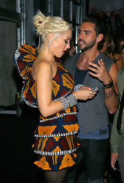Gwen Stefani showed off an intricate braided updo while attending the after party of her latest collection.