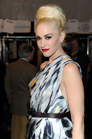 Gwen Stefani added texture and height to her flawless look with a bountiful ballerina bun.