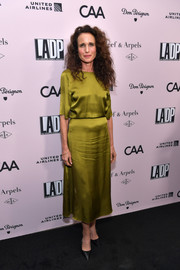 Andie MacDowell donned an olive-green silk blouse for the L.A. Dance Project Gala.