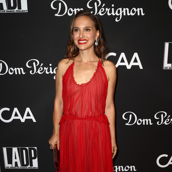 More Pics of Natalie Portman Dangling Diamond Earrings (6 of 21) - Dangle Earrings Lookbook - StyleBistro [l.a. dance project,dress,clothing,cocktail dress,hairstyle,fashion,carpet,shoulder,red carpet,premiere,neck,natalie portman,los angeles,california,hauser wirth,gala,annual gala - arrivals]