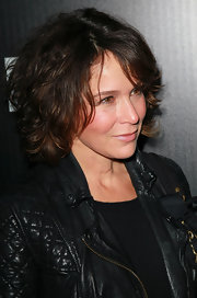 Jennifer Grey attended the LA Gay & Lesbian benefit looking edgy with her mussed-up curls and leather jacket.