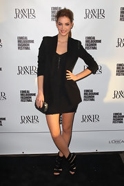 Barbara Palvin's thick strapped high heels showed off her tough girl vibe at the L'oreal Melbourne Fashion Festival.