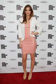 Barbara Palvin lent a mod vibe to her sparkly dress by pairing it with a white cropped blazer as she attended L'oreal Melbourne's Fashion Festival.