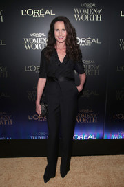 Andie MacDowell kept it simple in a belted black jumpsuit at the L'Oreal Women of Worth celebration.
