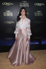 Camila Cabello amped up the elegance with a blush-colored ball skirt.