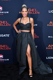 Jada Pinkett Smith looked sassy in a dotted black crop-top by Rosie Assoulin at the LA premiere of 'Angel Has Fallen.'