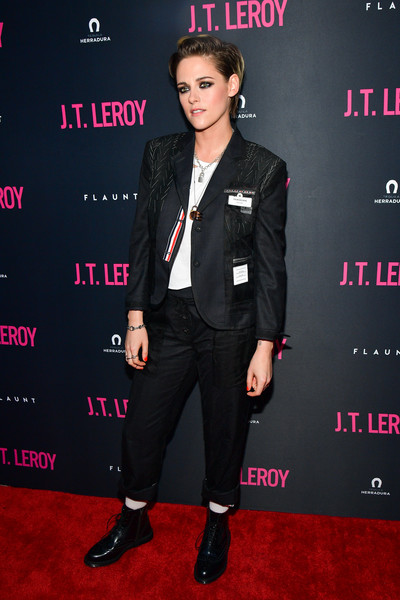 Kristen Stewart suited up in a black Thom Browne jacket and pants combo for the premiere of 'JT LeRoy.'