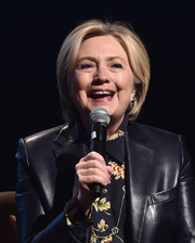 Hillary Clinton styled her hair into a classic bob for the Girls Build Leadership Summit.
