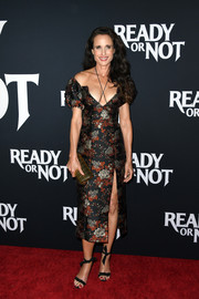 Andie MacDowell looked ageless in a low-cut off-the-shoulder floral dress by Markarian at the LA screening of 'Ready or Not.'
