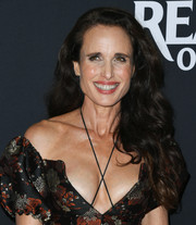 Andie MacDowell wore her long hair down in luxuriant waves at the LA screening of 'Ready or Not.'