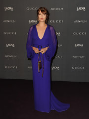 How divine did Florence look in this royal blue gown with billowing sheer chiffon sleeves?