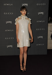 Bella Heathcote opted for suede strappy heels at the 2012 Art + Film Gala.