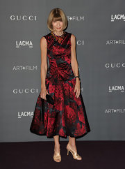 Anna Wintour looked lovelier than ever in this drop-waist print dress at the Art + Film Gala.