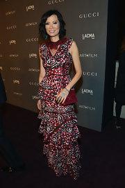 Wendi Deng donned a flamboyantly printed dress at the LACMA 2012 Art+Film Gala.