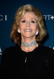 Jane Fonda was all glammed up with a stunning diamond choker necklace and a pair of massive studs when she attended the LACMA Art + Film Gala.