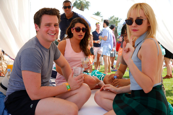 More Pics of Jena Malone Denim Jacket (2 of 9) - Jena Malone Lookbook - StyleBistro [day 1,spring break,vacation,fun,event,summer,party,eyewear,leisure,sunglasses,recreation,actors,lea michele,jena malone,jonathan groff,l-r,thermal,california,lacoste beautiful desert pool party]