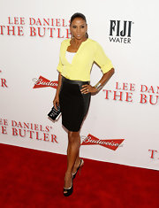 Holly's slick pencil skirt had leather panels for just a touch of modern elegance.