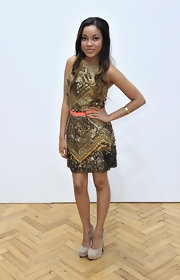 Dionne Bromfield attended the Sass & Bide show in a stunning beaded dress.