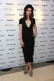 Tali Lennox wore a maxi dress with a plunging V-neck to an Esquire event in London.