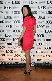 Linzi topped off her coral frock with black platform slingbacks.