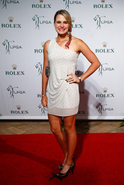 Lexi Thompson attended the LPGA Rolex Players Awards looking chic in a dotted one-shoulder mini dress.